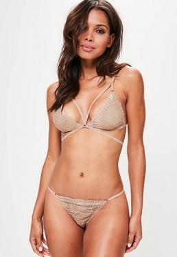 Beige Strappy Lace Triangle Bra