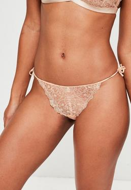 Nude Detailed Lace Briefs