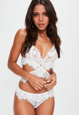 White Eyelash Lace Thong