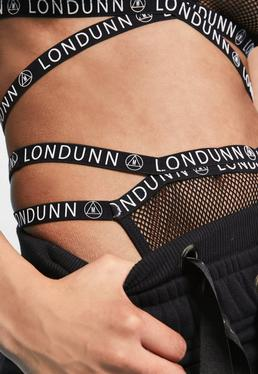 Londunn + Missguided Black Mesh Logo High Cut Knickers