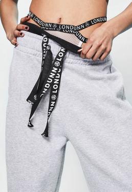 Londunn + Missguided White Mesh Logo High Cut Panties