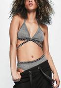 Szary biustonosz z dekoltem halter i modnymi paskami z logo Londunn + Missguided