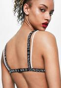LONDUNN + Missguided Sujetador de triángulo con transparencias y logo en blanco