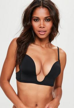 Black Seamless Deep Plunge Bra