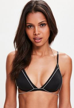 Silver Triangle Diamante Accessory Bra