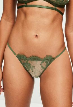 Khaki Eyelash Lace Thong