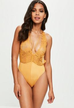 Mustard Lace Babydoll Bodysuit