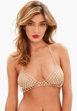 Gold Stud Diamante Bra