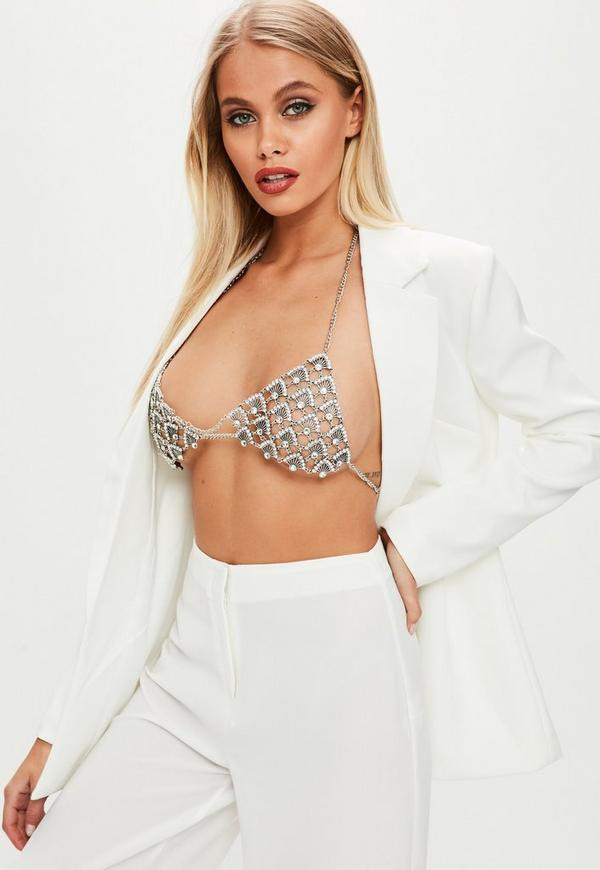 Silver Oversized Diamante Bra by Missguided