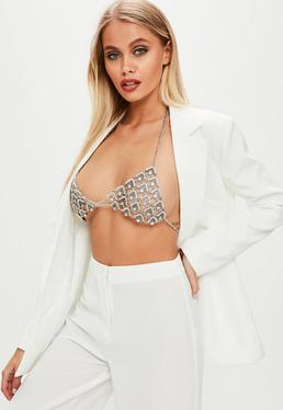 Silver Oversized Diamante Bra