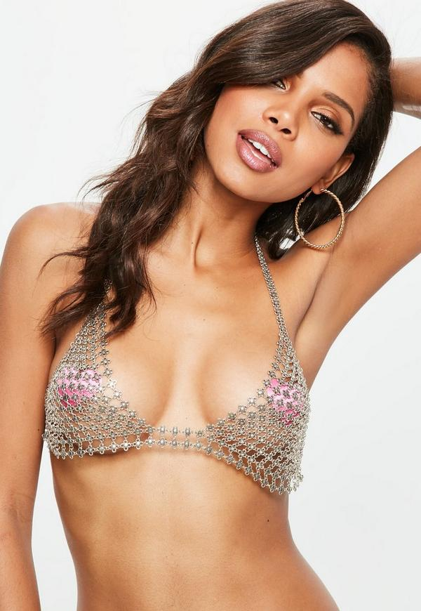 Silver Floral Chainmail Bra | Missguided