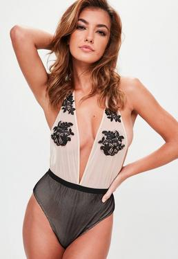 Nude Mesh Applique Bodysuit