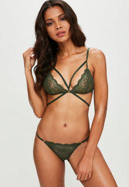 Green Strappy Lace Triangle Bra