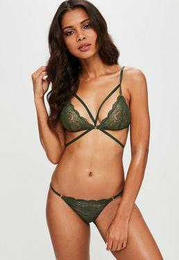 Green Strappy Lace Triangle Bra