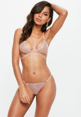 Pink Strappy Diamante Detail Bra