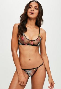 Black Embroidered Bralet