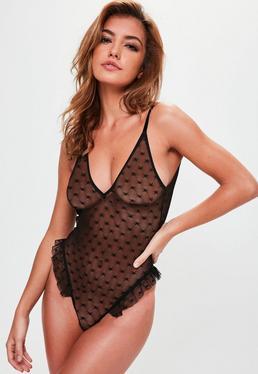 Black Star Frill Hem Bodysuit