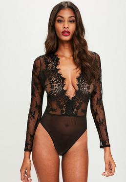 Black Eyelash Lace Extreme Plunge Bodysuit