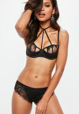Black Embroidered Lace Caged Underwired Bra