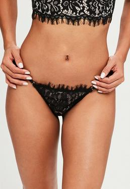 Black Eyelash Lace Thong
