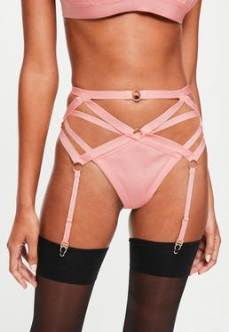 Pink Bandage Strappy Suspender Belt