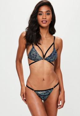 Blue Silver Lurex Strappy Bra