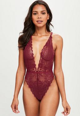 Burgundy Delicate Lace Bodysuit