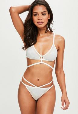 White Lurex Caged Soft Bra