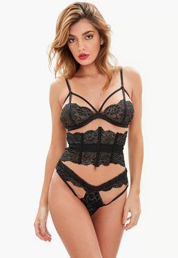 Black Metallic Lace Up Waspie