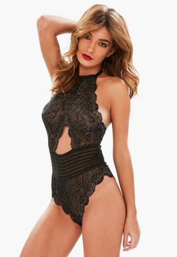 Black Metallic Lace Halter Neck Bodysuit
