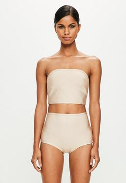 Peace + Love Beige Bandage High Waisted Panties