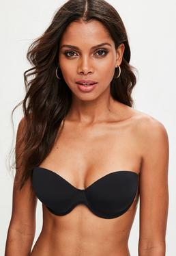 Black Winged Strapless Bra