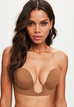 Tan Secret U Plunge Stick On Strapless Bra