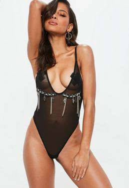 Black Embellished Chain Mesh Bodysuit
