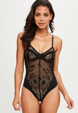Black Underwired Fishnet Body