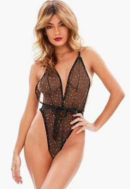 Black Glitter Ribbon Detail Bodysuit