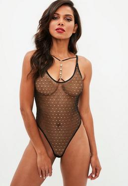 Black Spot Mesh Diamante Trim Bodysuit