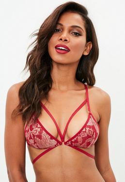 Red Metallic Lace Triangle Harness Bra