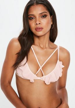 Pink Satin Frill Soft Triangle Bra