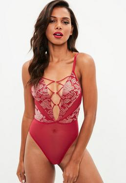 Red Metallic Lace Mesh Strappy Bodysuit