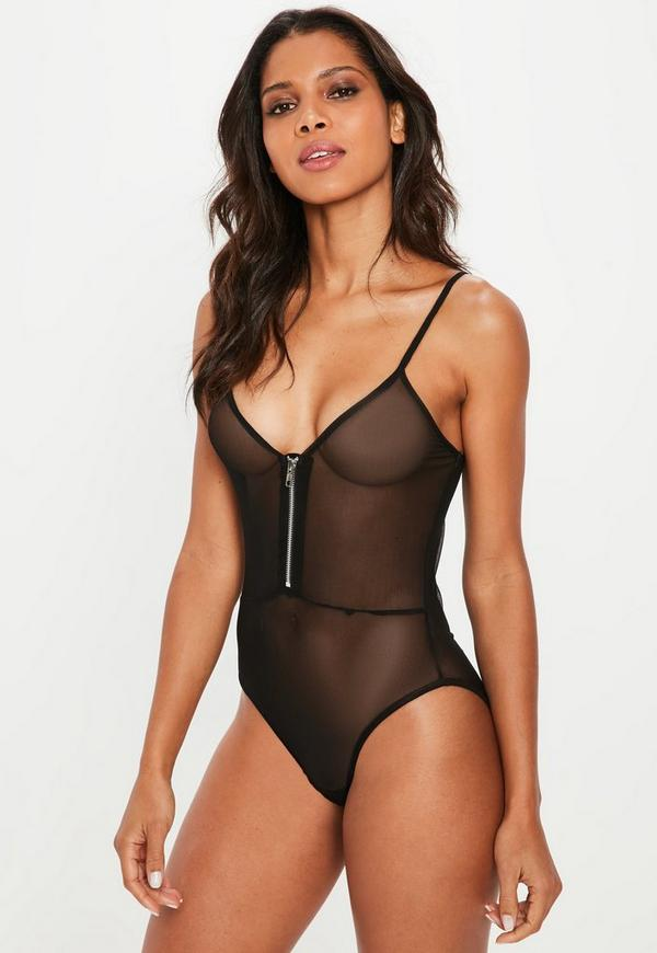 Black Deep Plunge Mesh Zip Front Bodysuit by Missguided