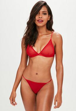 Red Mesh Triangle Bra