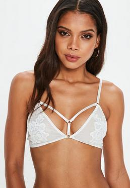 White Satin Floral Soft Triangle Bra