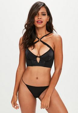 Black Satin Underwired Longline Balconette Bra