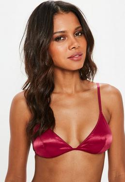 Wine Soft Satin Triangle Bra