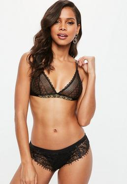 Black Multi Trim Lace Triangle Bra