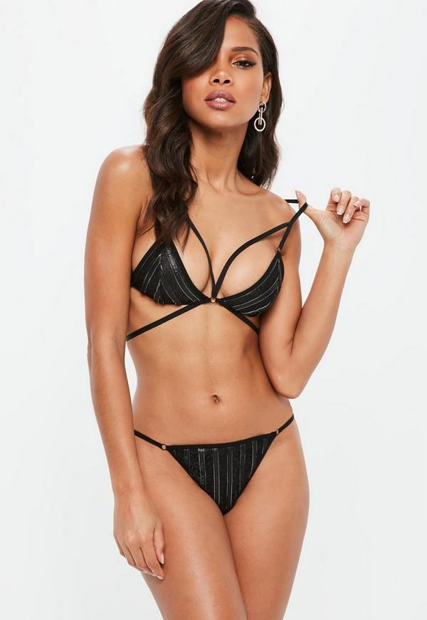 69a6bfef5b ... Black Faux Leather Strappy Harness Bra. Previous Next