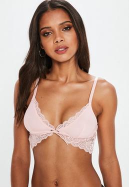 Pink Longline Jersey Lace Soft Bra