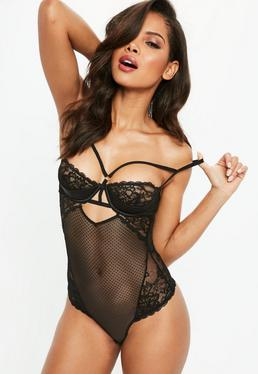 Black Half Cup Lace Body