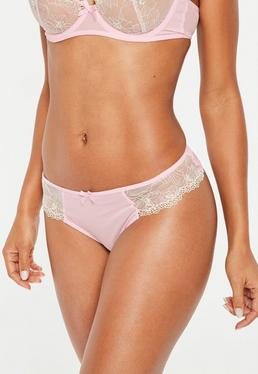 Pink Floral Lace Mesh Thong